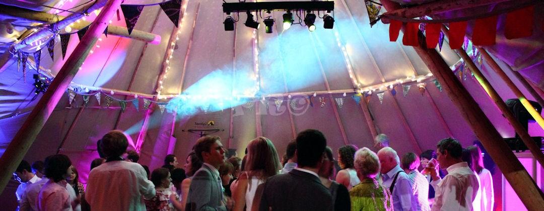 Teepee marquee wedding. Bespoke disco set up ensured minimal equipment was used for a big impact. Pulse Roadshow